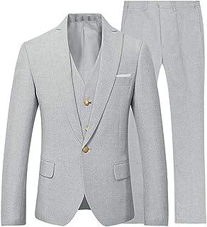 3 Pieces Summer Linen Men Suits Groom Tuxedo Casual Linen Seersucker Suit Mens