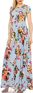 YYLZA New Floral Print Women Summer Dress Short Sleeve Pocket Long Maxi Dress Casual Evening Party Beach Dresses