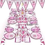 McNory 90 Pieza Vajilla Partido Desechable,Chicas de Ballet Niño Accesorio de Decoración de Fiesta de Cumpleaños Rosa-Apoyo para Celebración-Pancarta,Platos,Vasos,Servilletas y Mantel