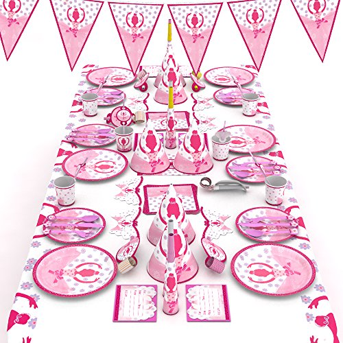 McNory 90 Stück Ballett Mädchen Party Geschirr Set Kinder,Pink Mädchen Geburtstag Party Deko,Geburtstagsfeier,Kindergeburtstag,Baby Shower,Partyzubehör Teller,Becher,Tischdecke usw