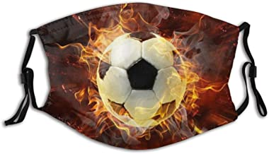 ELIENONO Passion Football Burning Sport Theme Soccer with Flame Splash Abstract Art Dust Face Cover Washable Reusable,Dustproof,Cycling