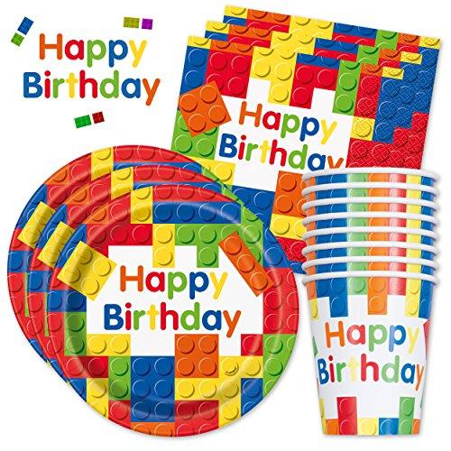 Happy Birthday PartyBox Bausteine - Das kunterbunte Party Set für eine tolle Geburtstagsfeier - Ausstattung mit Teller, Becher, Servietten & Co. - Party Marty - (Basic für 16 Gäste - 48-TLG.)