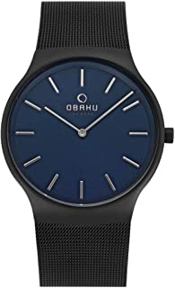 Obaku Men'S Blue Dial Stainless Steel Band Watch - V178Gxblmb