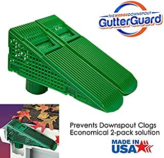 The Gutter Guard - Wedge Eliminates Downspout Pipe Clogs from Leaves and Debris - 2-Pack (2 Pack, Green)