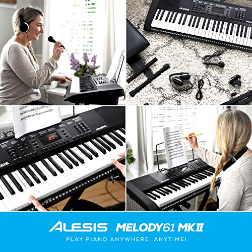 Alesis Melody 61 MKII - 61 Key Music Keyboard / Digital Piano with Built-In Speakers, Headphones, Microphone, Piano Stand, Music Rest and Stool