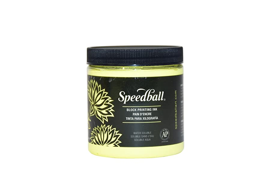 Speedball Water Soluble Block Printing Ink, Fluorescent Yellow, 8 Ounces