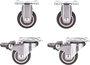 4 stks Meubelwielen Swivel Casters, 1/1.5 inch Industrial Transport Caster Brake Castor, Rubber Casters Kantoorstoel Caste...