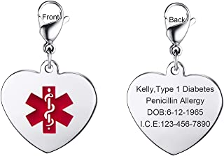 Free Custom Engraved Stainless Steel Medical Alert ID Heart Shape Pendant Keychain Necklace for Unisex,Multi Color Size Option