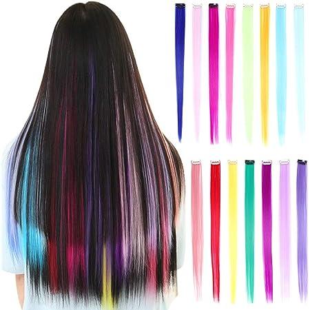 30 piezas Clip de colores en extensiones de cabello 20 pulgadas Rainbow al calor Sintético Rectos resaltados postizos Cosplay Party Clip en ...