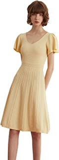 Mix Selection Women's Elegant V-Neck Knit Midi Dress Casual Cocktail Party Backless Dresses