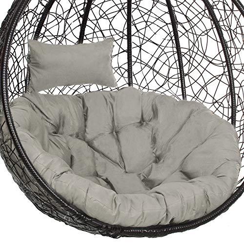 SPRINGOSⓇ Schaukelkissen Hängesessel Kissen|100 x 120 cm|Polster mit Kopfstütze|Auflage für Polyrattan/Rattan Hängeschaukel|Rückenkissen|Kopfstütze|Grau (Grau)