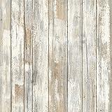 Thedecofactory RMK9050WP Papier Peint AHESIF REPOSITIONNABLE Planche Bois Blanc...