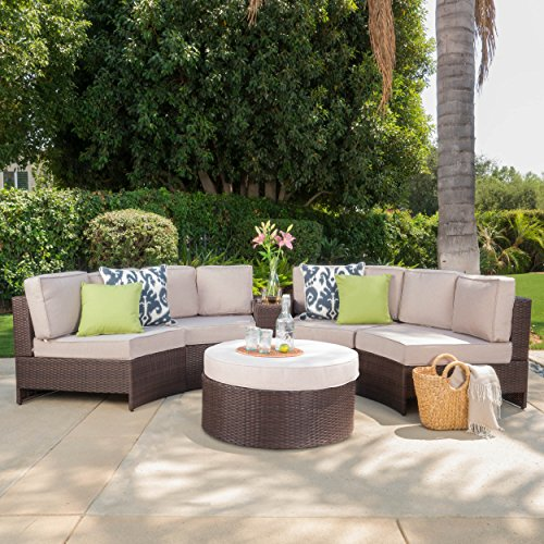 Riviera Portofino Outdoor Patio Furniture Wicker 6 Piece Semicircular Sectional Sofa Seating Set w/Waterproof Cushions (Standard Ottoman, Beige)