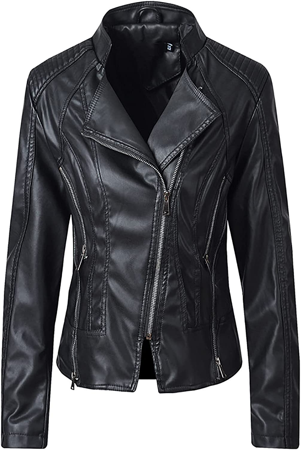 Hefu Womens Faux Leather Jacket Zip Up Motor Biker Jacket Coats Solid Color Short Lightweight Outerwear with Pockets