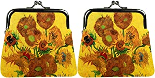 JESMART Change Purse Coin Purse Van Gogh The Starry Night, DIY Sublimation Printing, Picture Custom Made Designer Bag, Yellow Sunflowers, Small