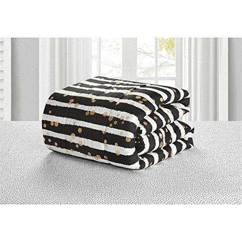 Latitude Gold Glitter Stripe Bed in A Bag, Twin, White/Black
