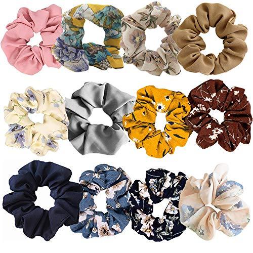 12 Pezzi Cravatte per Capelli Chiffon per Donna, Elastico per CapelliMorbido Legami di Capelli Chiffon Fiori Scrunchies per Donna o Ragazza