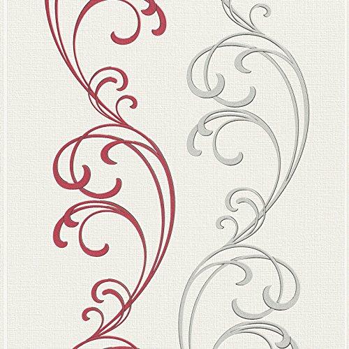 ROLLER Vliestapete - rot-silber - Ornamente - 10 Meter