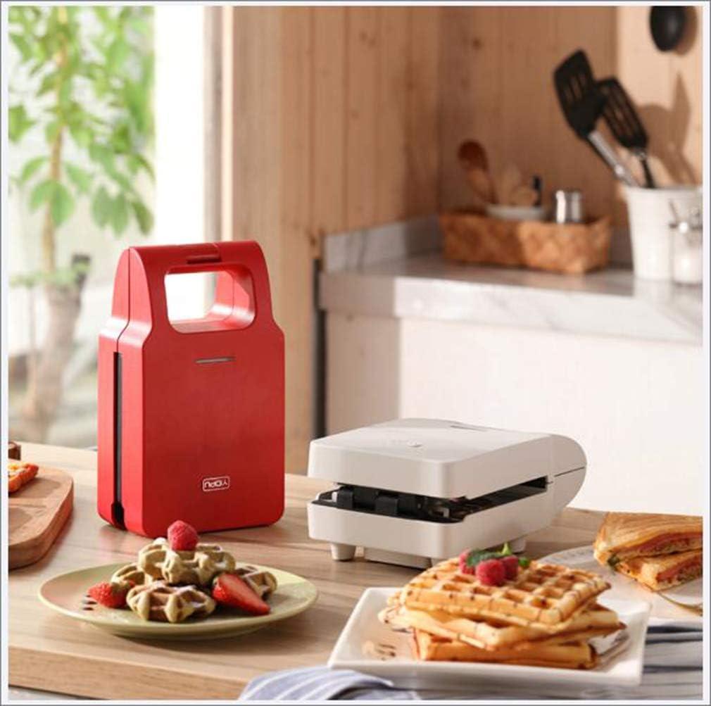 Diepe vulling Sandwich Toaster Wafelijzer en Toastie Maker met verwijderbare platen, antiaanbaklaag, roestvrij staal,White Red