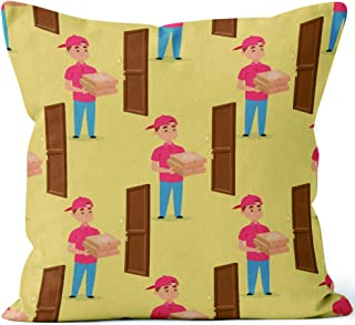Delivery man boy vector service workers and clients couriers delivering man characters shop mailmen bringing packages ho Throw Pillow Cover,HD Printing for Sofa Couch Car Bedroom Living Room Decor,40