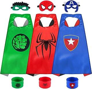 Sinoeem Capa de Superhéroe para Niños - 3 Capa y 3 Máscaras y 3 Slap Pulseras - Ideas Kit de Valor de Cosplay de Diseño de...