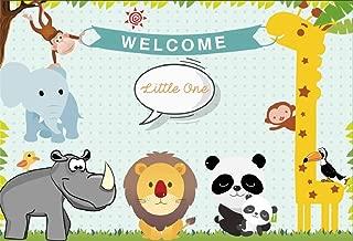 Leyiyi 7x5ft Kids Birthday Backdrop Cartoon Zoo Animals Tropical Jungle Wild Life Giraff Elephant Panda Happy 1st B Day Banner Safari Photo Background Baby Shower Portrait Shoot Vinyl Studio Prop