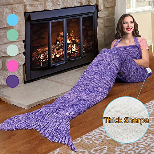 Catalonia Mermaid Tail Sherpa Blanket, Super Soft Warm Comfy Sherpa Lined Knit Mermaids with Non-Slip Neck Strap, Best Gift for Girls Women Adult Teens Birthday Christmas Purple