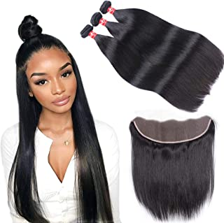 Haha Brazilian Straight Hair 3 Bundles With Frontal 13x4 Ear to Ear Lace Frontal Closure With Bundles 8A Unprocessed Virgin Human Hair Bundles With Frontal Natural Color 14 16 18+12 Free Part