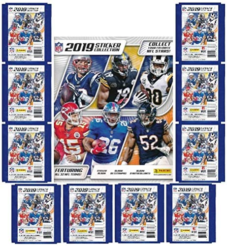 2019 Panini NFL Football Stickers Special Collectors Package with HUGE 72 Page Color Collectors Album, 60 Brand New MINT Stickers & 10 Cards! Look for Stickers of Top NFL Superstars & Rookies! WOWZZER