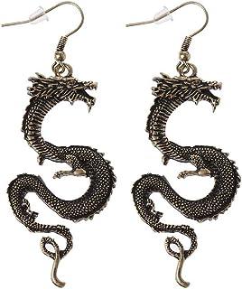 Moregirl Vintage Bronce Firery Dragon Hook Pendientes Dragon Totem Pendientes de Gota Joyería
