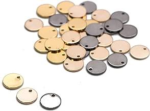 WSSROGY 36 Pcs Stamping Tag Pendants Circle Blank Coin Stamping Charms Round Stamping Blank Tag Metal Jewelry Making (Gold Silver Rose Gold)