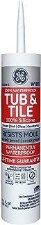 GE GE712 Silicone 1 Tub & Tile Sealant Caulk, 10.1oz, White