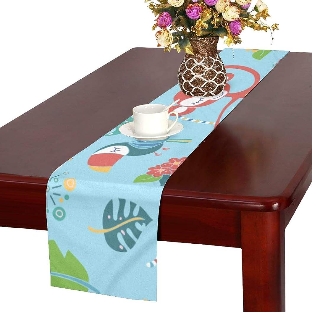スポーツをするロボット永続LKCDNG テーブルランナー 美しい花 アニメーション動物 クロス 食卓カバー 麻綿製 欧米 おしゃれ 16 Inch X 72 Inch (40cm X 182cm) キッチン ダイニング ホーム デコレーション モダン リビング 洗える