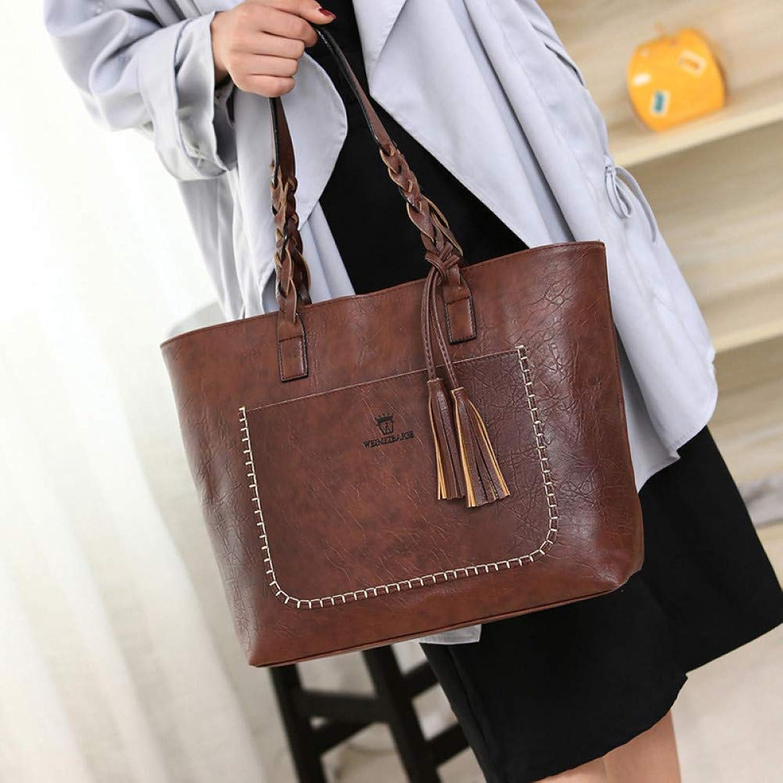 JQSM Women Tassel Handbag Oil Designer Knitting Shoulder Bag Leather Bags Ladies A Main Bags