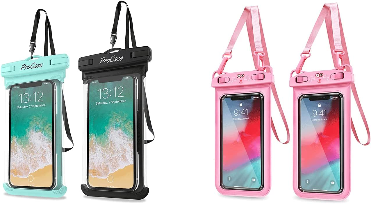 ProCase [2 Pack] Universal Waterproof Pouch Cellphone Dry Bag Case Bundle with [2 Pack] Universal Waterproof Pouch for Girls Kid
