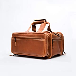 Bellagio-Italia Leather Gun Range Bag for Handgun and Gun Accessories - Multiple Pockets for Gun Bag, Loops for Ammo, and Padded Pockets for Mag Clips - Classic Shooting Bag and Handgun Case