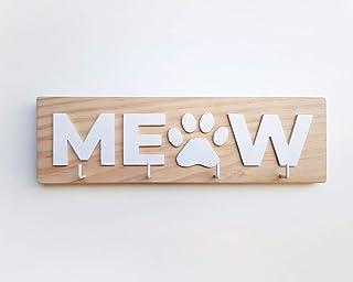 Porta llaves de madera para amantes de los gatos con la palabra MEOW en blanco