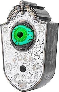 ハロウィンドアベル、タッチ可能なハロウィンOne‑Eyedドアベル装飾効果音付きの眼球ドアベル、ハロウィンパーティー&お化け屋敷装飾(P018 one-eyed doorbell white crack)