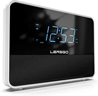 Clock Radio Bluetooth V5.0 Portable Speaker with HD Sound and Bass,1.4 Inch Blue Display with Dimmer,Dual Alarm,Snooze,Adj...