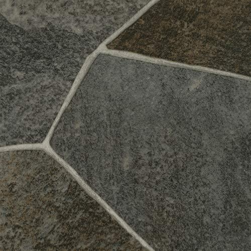 BODENMEISTER BM70517 Vinylboden PVC Bodenbelag Meterware 200, 300, 400 cm breit, Fliesenoptik Steinoptik dunkel-grau