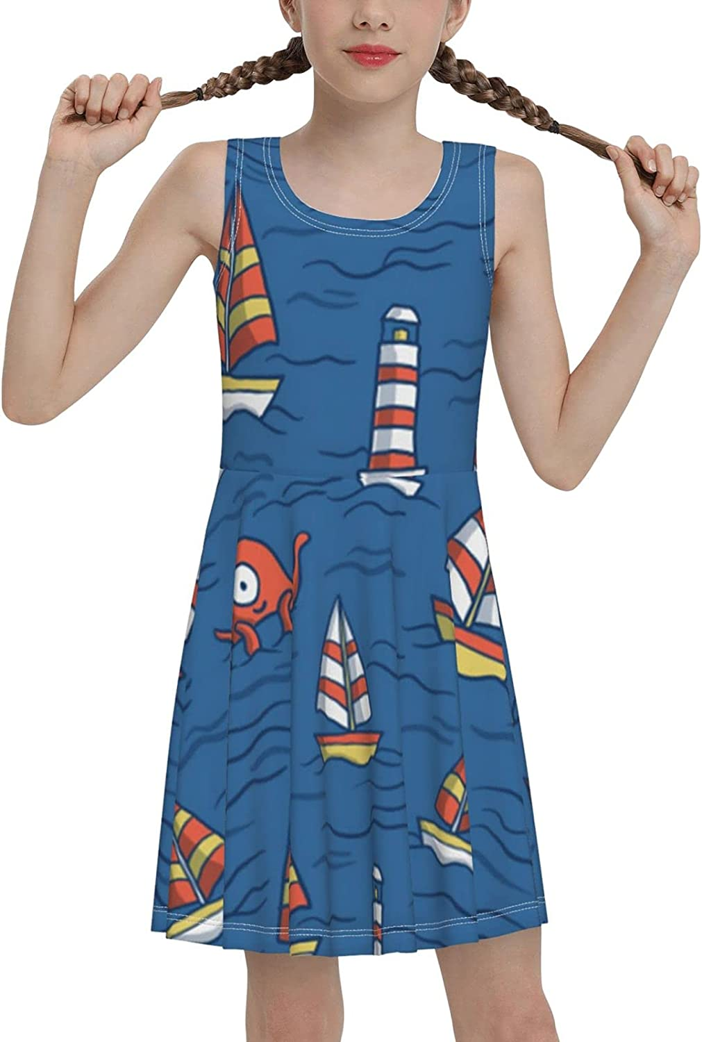 SDGhgHJG Ships and Lighthouse Sleeveless Dress for Girls Casual Printed Pleated Skir
