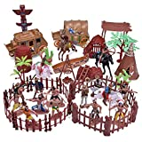 FUN LITTLE TOYS 61 PCs Wild West Cowboys and Indians Plastic Figures, Toy Soldiers for Kids, Army Men Boy's War Game