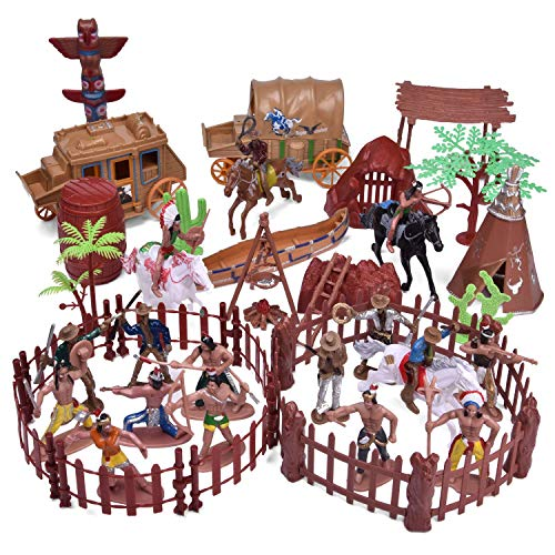 61 PCs Wild West Cowboys and Indians Plastic Figures  Toy Soldiers for Kids  Army Men Boy s War Game