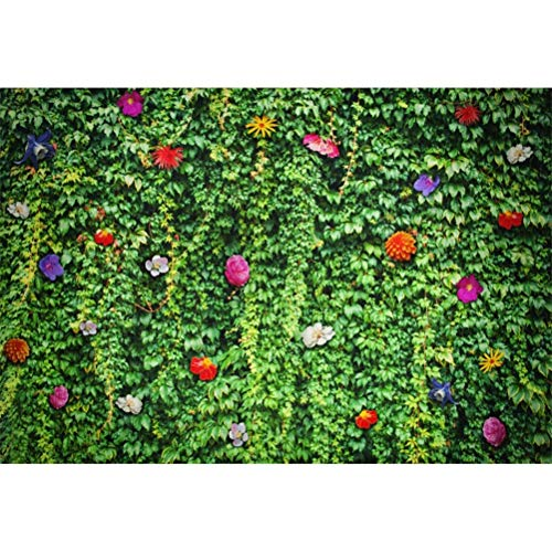 vrupi 10x6.5ft Beautiful Fairy Wall with Green Leaves Flowers Vinyl Photography Background Summer Scenic Backdrop Child Adult Pets Shoot Wedding Lovers Valentine\'s Day Banner Botany Studio Props