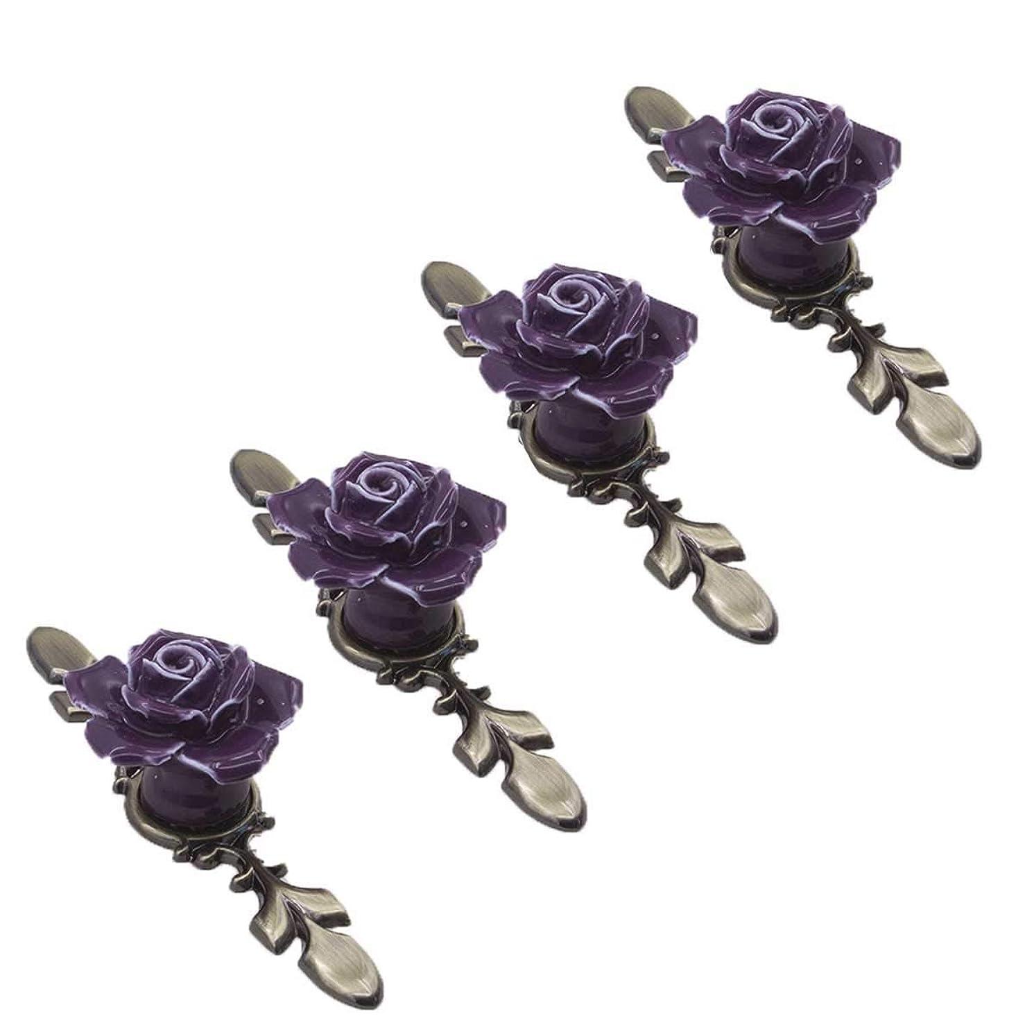 SCTD Rose Ceramic Flower Cabinet Knobs with Bronze Backplate, Vintage Kitchen Drawer Pull Handles for Dresser Cupboard Waredobe with 3 Size Screws, 4 Pack (Purple Set of 4)