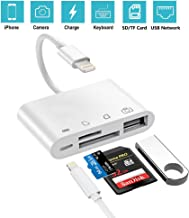 4-in-1 SD/TF Card Reader, USB 2.0 Female OTG Adapter Cable Compatible for iPhone iPad iPod, Trail Game Camera SD Card Reader No App Required, Plug and Play (White)