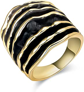 Fashion Vintage Retro Chunky Thick Statement Rings 2 Tone Black and Gold Silver Wide Band Ring for Women