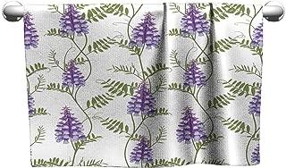 Tankcsard Floral Hand Towels Seamless Pattern Wildflowers Bindweed Bird Vetch Canada Pea,Gym Shower Towel for Men