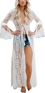 SMDPPWDBB Women's Floral Crochet Bohemian Lace Beach Bikini Swimsuit Cover Ups Long Vintage Kimono Cardigan