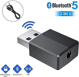 RMFC Adaptador Bluetooth USB, Mini Bluetooth 5.0 Transmisor Receptor 2-en-1 Adaptador USB Dongle con Audio Inalámbrico 3.5MM Cable para PC/TV/hogar/Auriculares/Altavoces/Radio
